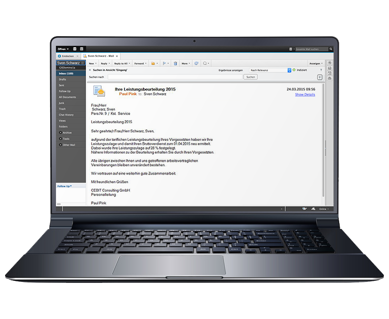 """Leistungsbeurteilungen per E-Mail versenden mit der HR-Lösung """"Organisationsmanagement"""""""