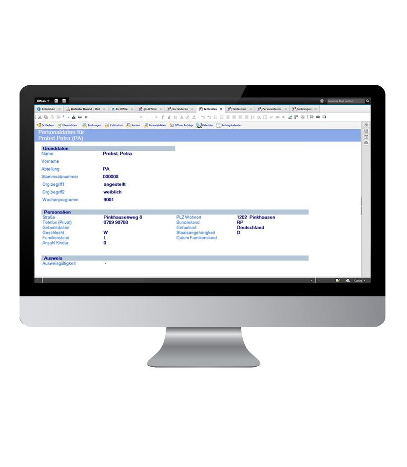Personaldaten einsehen mit der notesbasierten Software aus dem Bereich Zeitwirtschaft