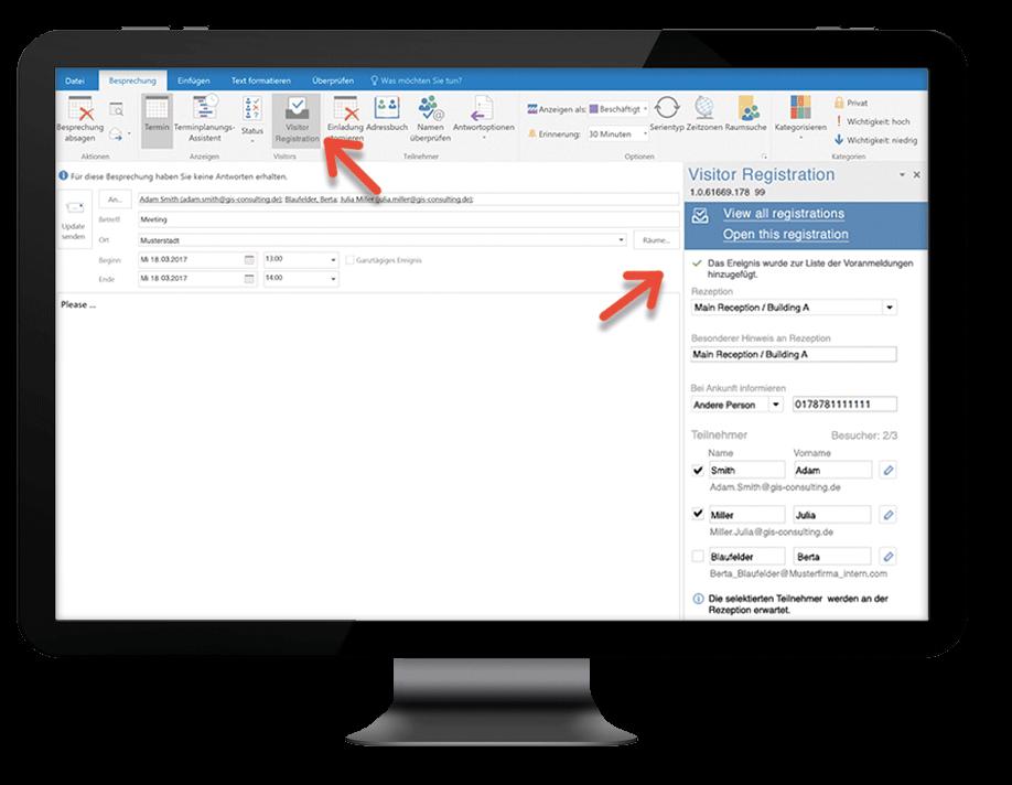 Das Outlook Add-In zur Besucherverwaltung öffnet sich per Klick auf den entsprechenden Button in der Ribbon Bar.